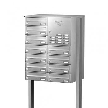 Briefkastenanlage freistehend Edelstahl 11 Fächer mit Funktionskasten Cenator KN-FS-111-244-H-E