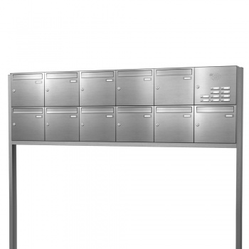 Briefkastenanlage freistehend Edelstahl 11 Fächer mit Funktionskasten Cenator KN-FS-111-244-E