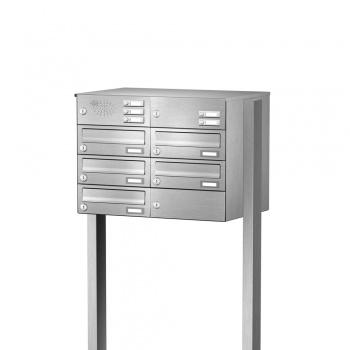 Briefkastenanlage freistehend Edelstahl 5 Fächer mit Funktionskasten Cenator KN-FS-51-244-H-E