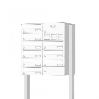 Briefkastenanlage freistehend 9 Fächer mit Funktionskasten Cenator KN-FS-91-244-H