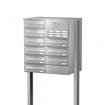Briefkastenanlage freistehend Edelstahl 9 Fächer mit Funktionskasten Cenator KN-FS-91-244-H-E