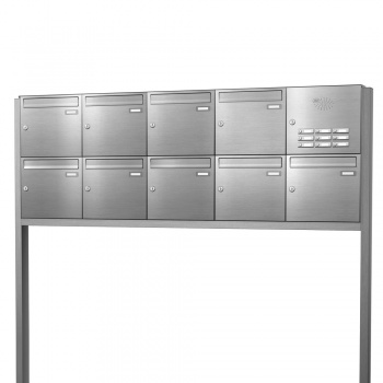Briefkastenanlage freistehend Edelstahl 9 Fächer mit Funktionskasten Cenator KN-FS-91-244-E