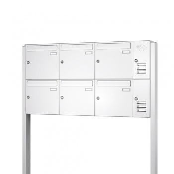 Briefkastenanlage freistehend 6 Fächer mit Funktionskasten Cenator KN-FS-61-244