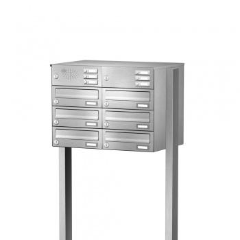 Briefkastenanlage freistehend Edelstahl 6 Fächer mit Funktionskasten Cenator KN-FS-61-244-H-E