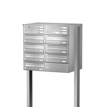 Briefkastenanlage freistehend Edelstahl 7 Fächer mit Funktionskasten Cenator KN-FS-71-244-H-E