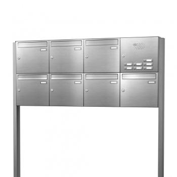 Briefkastenanlage freistehend Edelstahl 7 Fächer mit Funktionskasten Cenator KN-FS-71-244-E