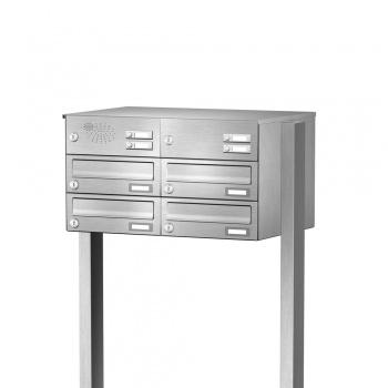 Briefkastenanlage freistehend Edelstahl 4 Fächer mit Funktionskasten Cenator KN-FS-41-244-H-E
