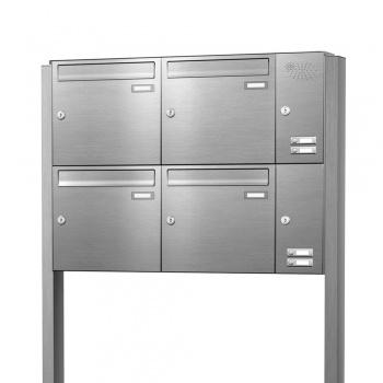 Briefkastenanlage freistehend Edelstahl 4 Fächer mit Funktionskasten Cenator KN-FS-41-244-E