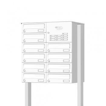 Briefkastenanlage freistehend 10 Fächer mit Funktionskasten Cenator KN-FS-101-244-H