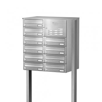 Briefkastenanlage freistehend Edelstahl 10 Fächer mit Funktionskasten Cenator KN-FS-101-244-H-E