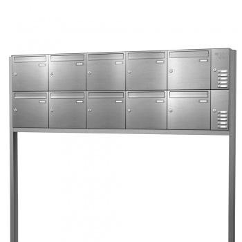 Briefkastenanlage freistehend Edelstahl 10 Fächer mit Funktionskasten Cenator KN-FS-101-244-E