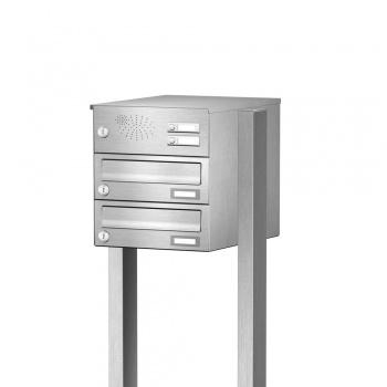 Briefkastenanlage freistehend Edelstahl 2 Fächer mit Funktionskasten Cenator KN-FS-21-244-H-E
