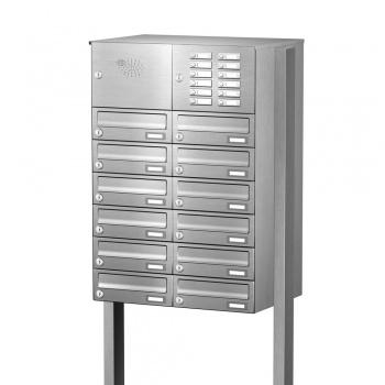 Briefkastenanlage freistehend Edelstahl 12 Fächer mit Funktionskasten Cenator KN-FS-121-244-H-E