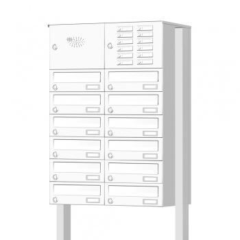 Briefkastenanlage freistehend 12 Fächer mit Funktionskasten Cenator KN-FS-121-244-H