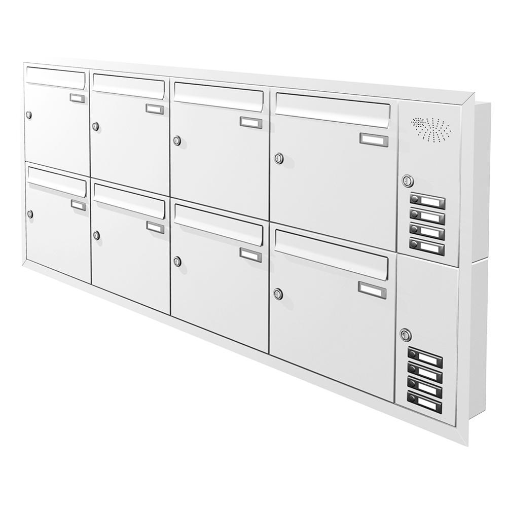 Unterputz Briefkastenanlage 8 Fächer mit Funktionskasten Cenator KN-UP-81-110
