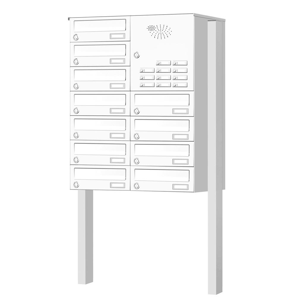 Briefkastenanlage freistehend 11 Fächer mit Funktionskasten Cenator KN-FS-111-244-H