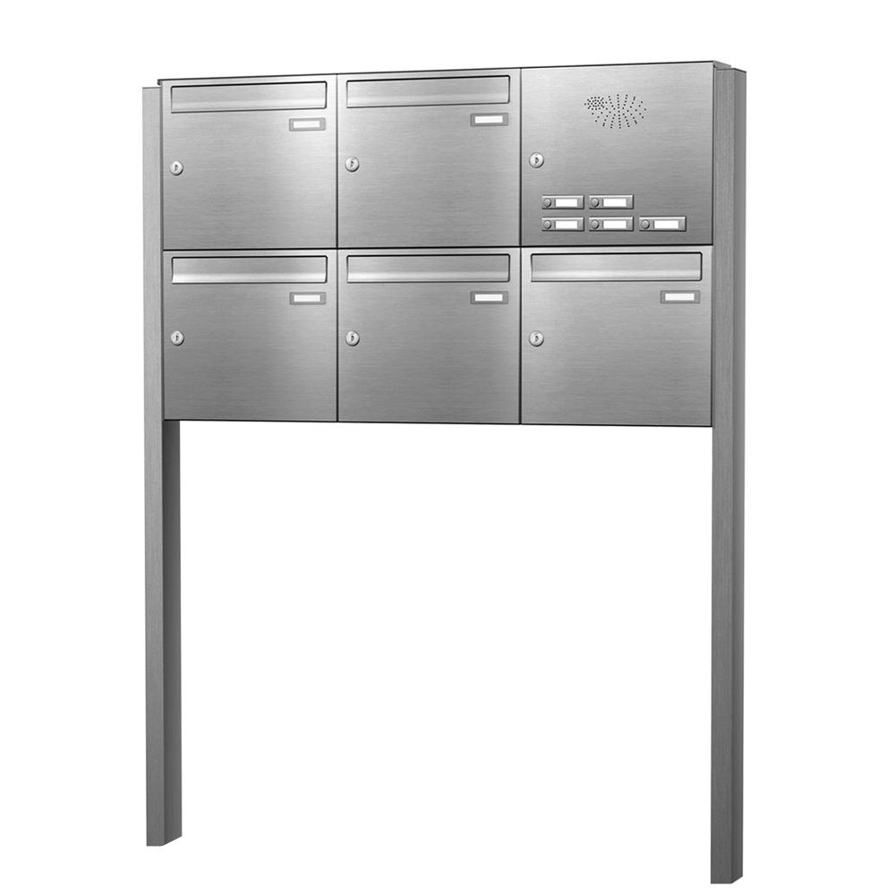 cenator briefkastenanlage freistehend edelstahl 5 f cher mit funktionskasten cenator kn fs 51. Black Bedroom Furniture Sets. Home Design Ideas