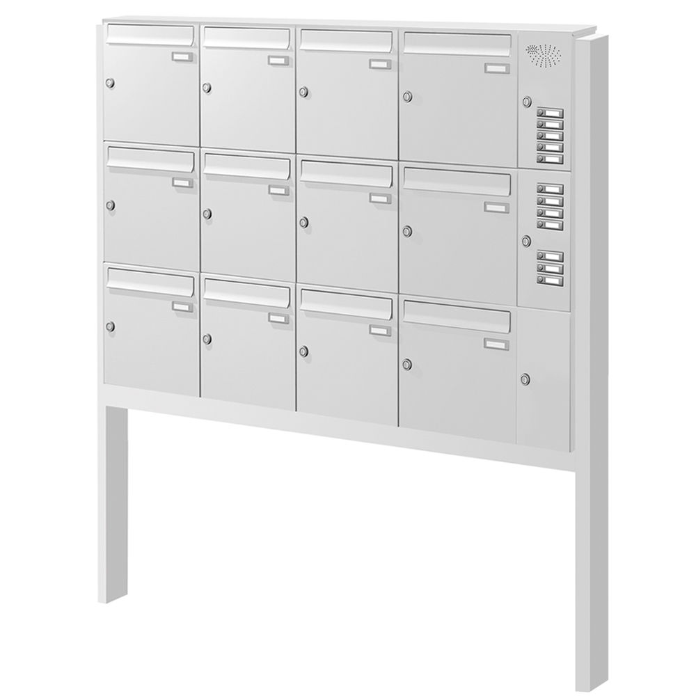 Briefkastenanlage freistehend 12 Fächer mit Funktionskasten Cenator KN-FS-121-244