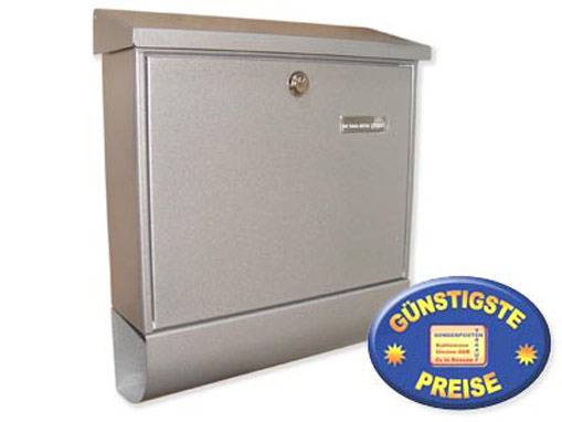 Briefkasten mit Zeitungsbox silber Cenator BW 179