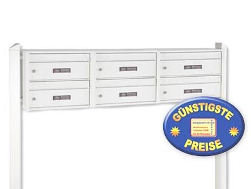 cenator® | Briefkastenanlage 6 Fächer freistehend weiß Cenator BW 282