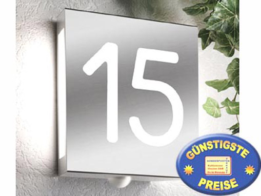 Top cenator® | Außenlampe mit Hausnummer Edelstahl Cenator CM 13 HO48