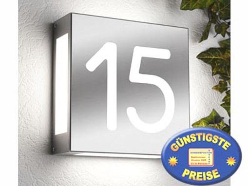 Außenleuchte Edelstahl mit Hausnummer Cenator CM 22