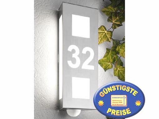 Wandleuchte Edelstahl mit Hausnummer und Sensor Cenator CM 48