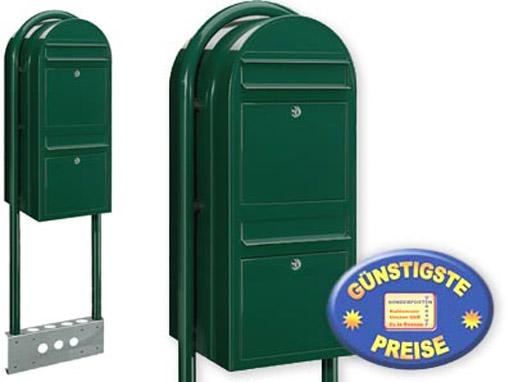 Briefkastenanlage 2 Fächer schwarzgrün freistehend Cenator BF 527