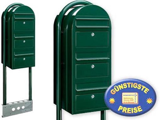 Briefkastenanlage 3 Fach schwarzgrün freistehend Cenator BF 536