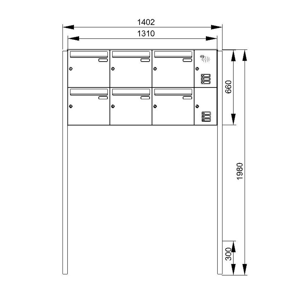 cenator briefkastenanlage freistehend 6 f cher mit funktionskasten cenator kn fs 61 244. Black Bedroom Furniture Sets. Home Design Ideas