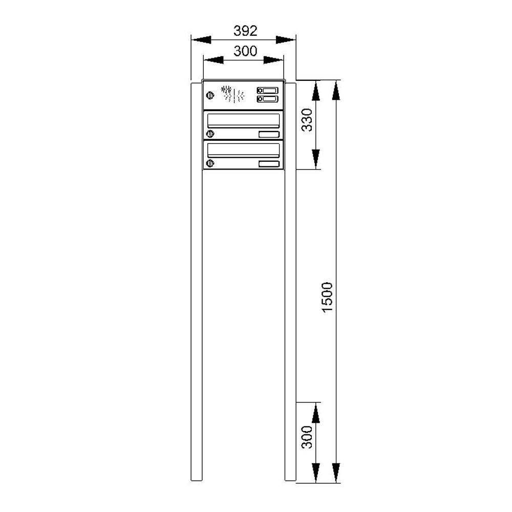 cenator briefkastenanlage freistehend edelstahl 2 f cher mit funktionskasten cenator kn fs 21. Black Bedroom Furniture Sets. Home Design Ideas