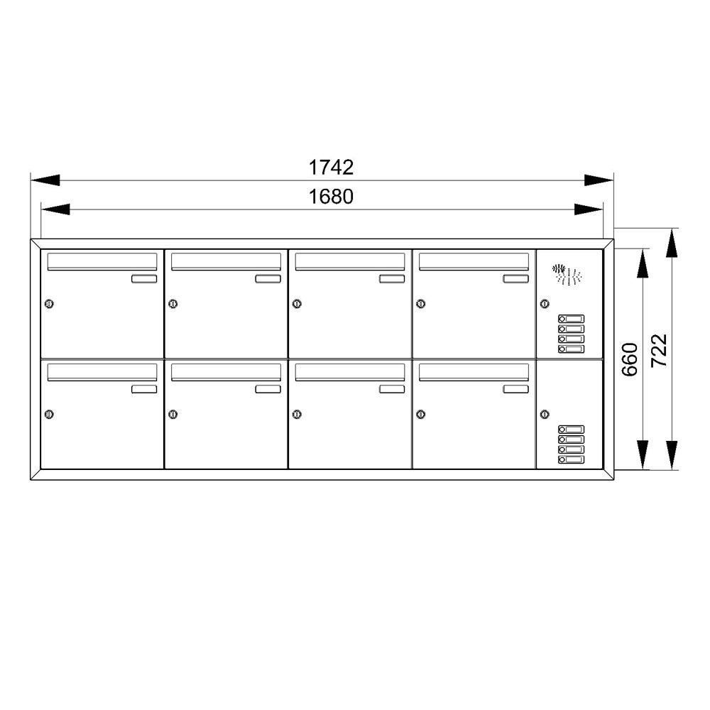 cenator unterputz briefkastenanlage 8 f cher mit. Black Bedroom Furniture Sets. Home Design Ideas